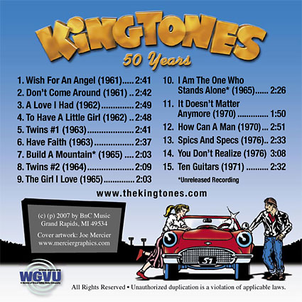 Memories: The Best of The Kingtones CD Back Art